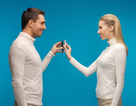 picture of man and woman with modern gadgets Stock Photo - 17480087
