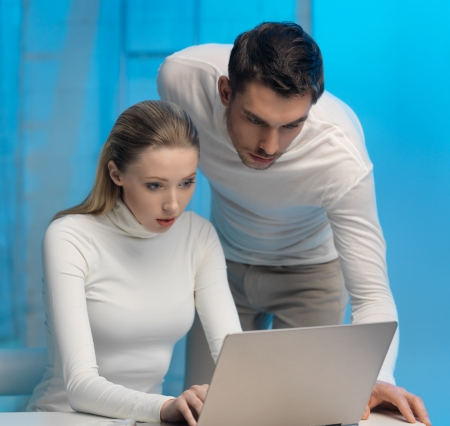 picture of man and woman in space laboratory Stock Photo - 17480074