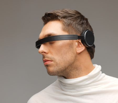 picture of handsome man with futuristic glasses Stock Photo - 17540248