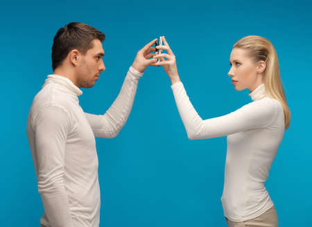 picture of man and woman with modern gadgets Stock Photo - 17540243