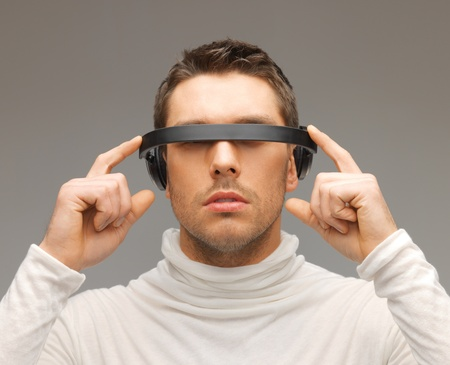 picture of handsome man with futuristic glasses Stock Photo - 17540297