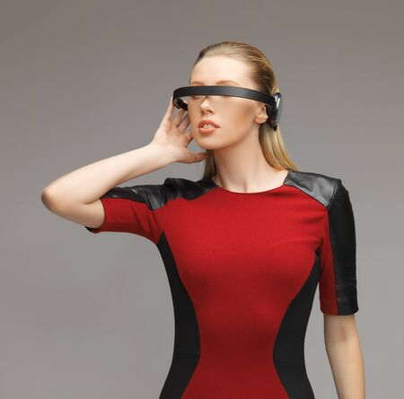 picture of beautiful woman with futuristic glasses Stock Photo - 17540330