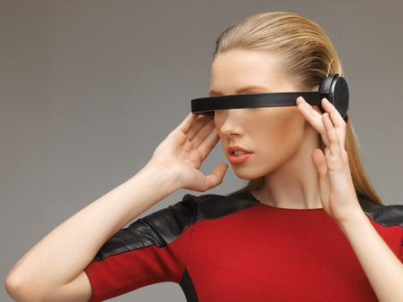 picture of beautiful woman with futuristic glasses Stock Photo - 17540448