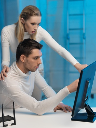 picture of man and woman in space laboratory Stock Photo - 17540327