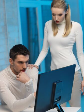 picture of man and woman in space laboratory Stock Photo - 17540301