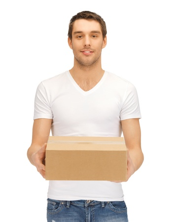 picture of handsome man with big box  photo