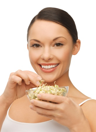 picture of beautiful woman with mung sprout beans photo