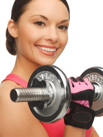 picture of beautiful sporty woman with dumbbells Stock Photo - 17540199