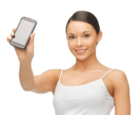 bright picture of beautiful woman with smartphone Stock Photo - 17538822