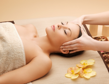picture of happy beautiful woman in massage salon Stock Photo - 17540361