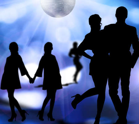 silhouettes of men and women dancing at a disco photo