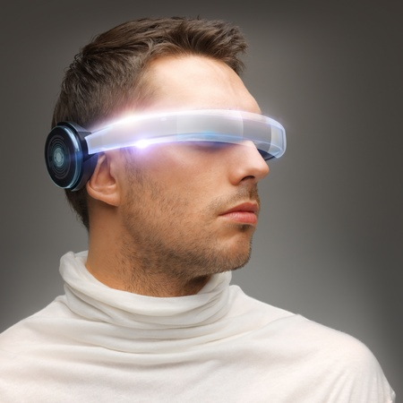 picture of handsome man with futuristic glasses Stock Photo - 17540245