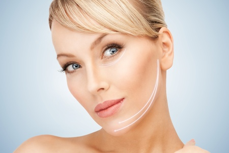 beauty treatment clinic: picture of beautiful woman ready for cosmetic surgery Stock Photo