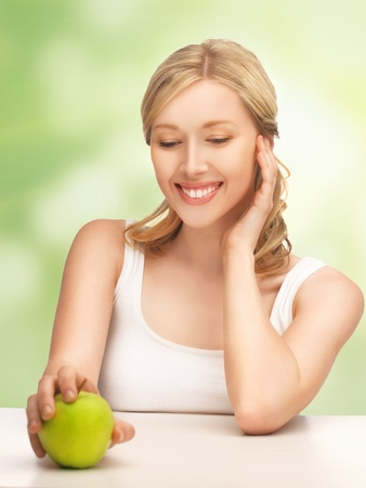 picture of beautiful woman with green apple Stock Photo - 17540249