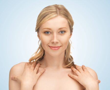 face and hands of beautiful woman with long hair Stock Photo - 17540048