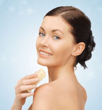 bathing: bright picture of beautiful woman with soap Stock Photo