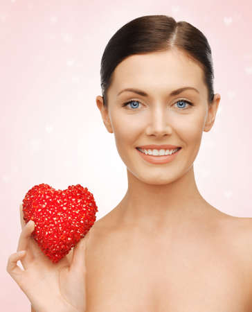 bright picture of beautiful woman with heart Stock Photo - 17527365