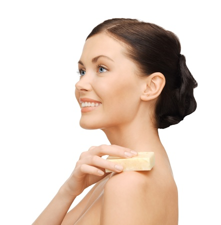 bright picture of beautiful woman with soap photo