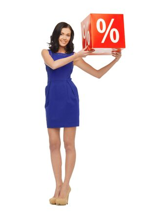 picture of lovely woman in blue dress with percent sign photo