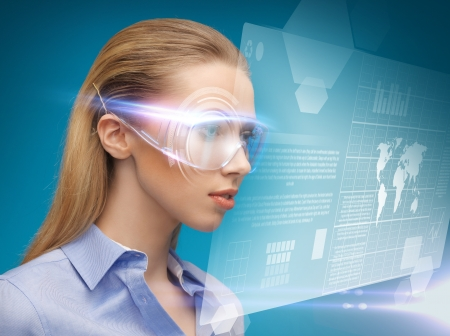 bright picture of businesswoman with virtual glasses Stock Photo - 17540363