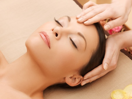 picture of happy beautiful woman in massage salon Stock Photo - 17540241