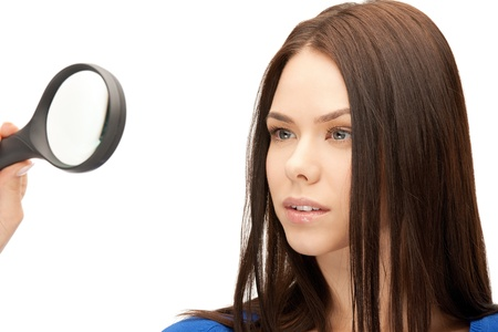 picture of beautiful woman with magnifying glass Stock Photo - 17540158