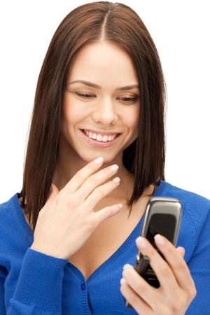 bright picture of woman with cell phone Stock Photo - 17540298
