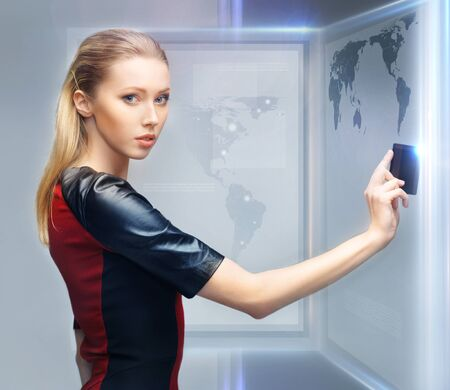 picture of futuristic woman with access card Stock Photo - 17601805