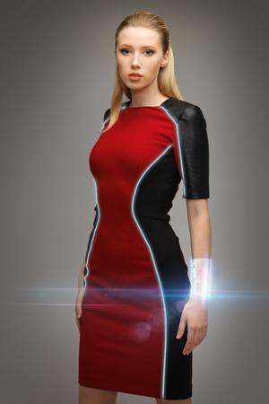 bright picture of beautiful futuristic woman Stock Photo - 17601783