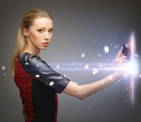 cyber woman: picture of futuristic woman with access card