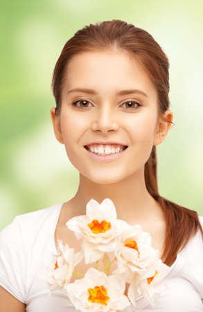 picture of beautiful woman with white flower Stock Photo - 17602512