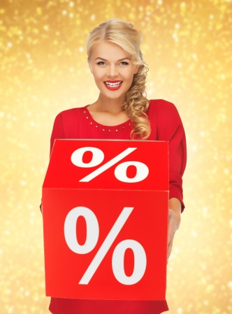 picture of lovely woman in red dress with percent sign Stock Photo - 17601809