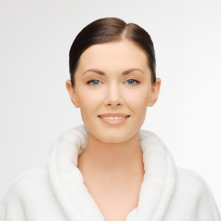bath robes: picture of beautiful woman in white bathrobe Stock Photo