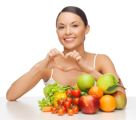 picture of beautiful woman with fruits and vegetables Stock Photo - 17602500
