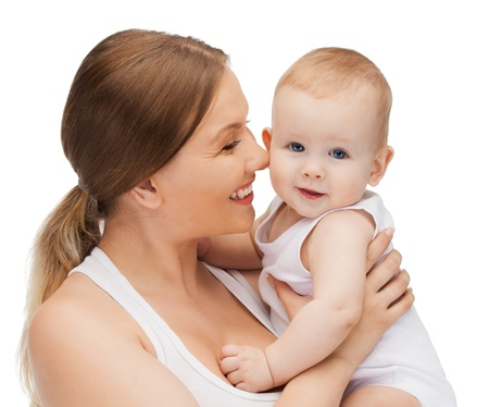 mom holding baby: picture of happy mother with adorable baby  Stock Photo