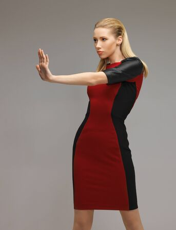 picture of futuristic woman working with something imaginary photo