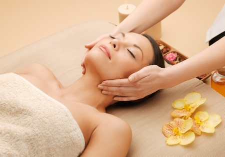beauty parlor: picture of calm beautiful woman in massage salon Stock Photo