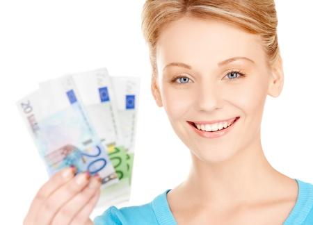 billets euro: image de belle femme avec de l'argent à l'euro fiduciaire Banque d'images