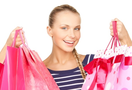 picture of lovely woman with shopping bags Stock Photo - 17645290