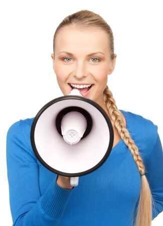 bright picture of happy woman with megaphone Stock Photo - 17632230