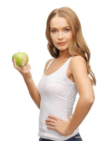 picture of beautiful woman with green apple Stock Photo - 17665113