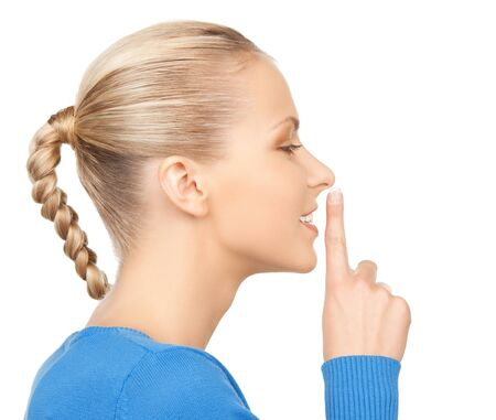 picture of happy woman with finger on lips Stock Photo - 17686979