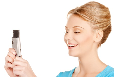 bright picture of woman with cell phone photo
