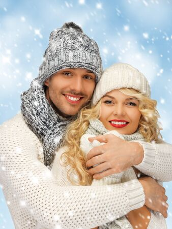 bright picture of family couple in a winter clothes Stock Photo - 17758684