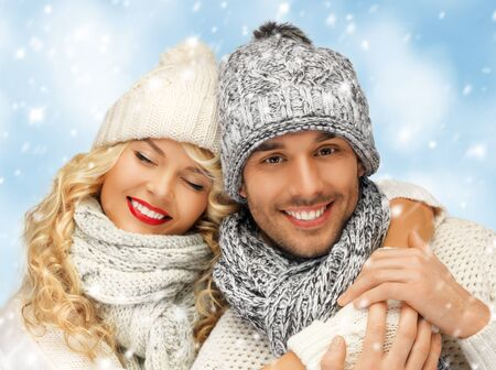 bright picture of family couple in a winter clothes Stock Photo - 17758689