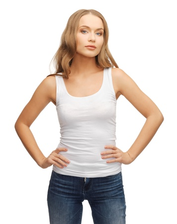 cool girl: picture of calm and serious woman in blank white t-shirt