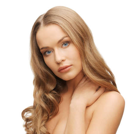 smooth hair: face and hands of beautiful woman with long hair Stock Photo