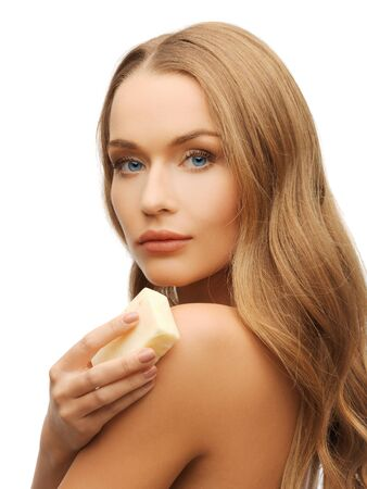 bright picture of beautiful woman with soap Stock Photo - 17758687