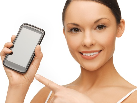 bright picture of beautiful woman with smartphone Stock Photo - 17758690