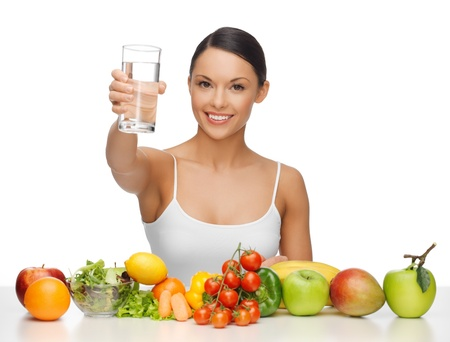 girl drinking: beautiful woman with healthy food and water